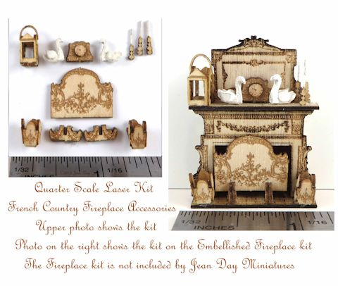 French Country Fireplace Accessory Kit 1:48 LC011