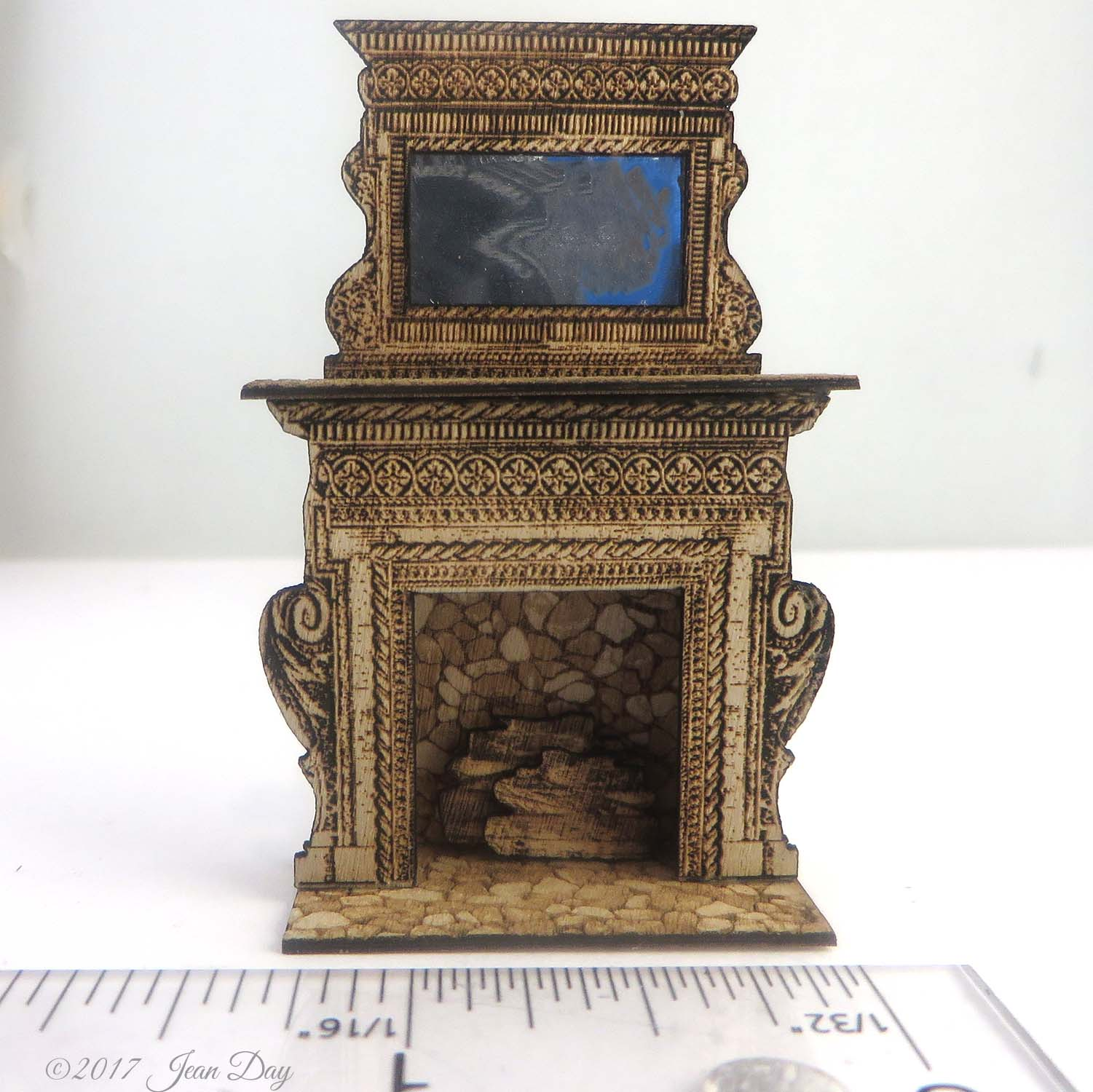 Tall Embellished Fireplace 1:48 LC042