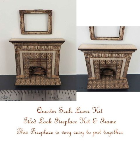Tiled Look Fireplace and Frame 1:48 LC006