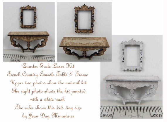 French Country Console Table and Frame 1:48 LC015