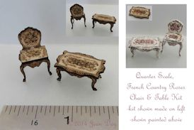 French Country Roses Table and Chair 1:48 LC005