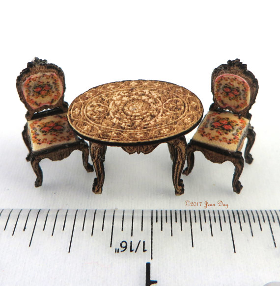 French Country Upholstered Chairs and Table LC028
