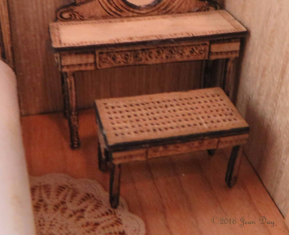 French Country Laser Cut Cane Look Stool LC034