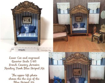 Fr. Country Armoire Reading Nook Blue Stripe LC054