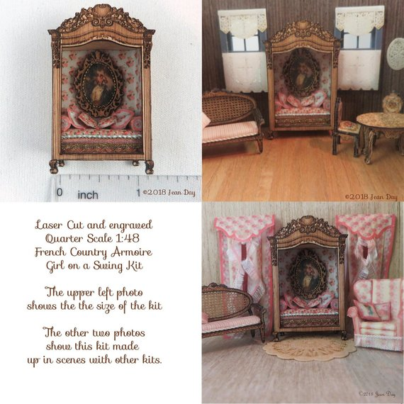 Fr. Country Armoire Reading Nook Girl/ Swing LC057
