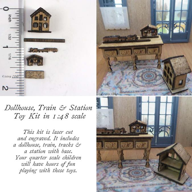 Dollhouse, Train and Station Toy Kit LC064