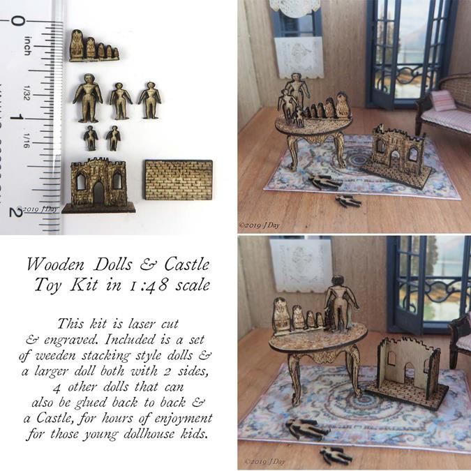 Wooden Dolls and Castle Toy Kit LC065